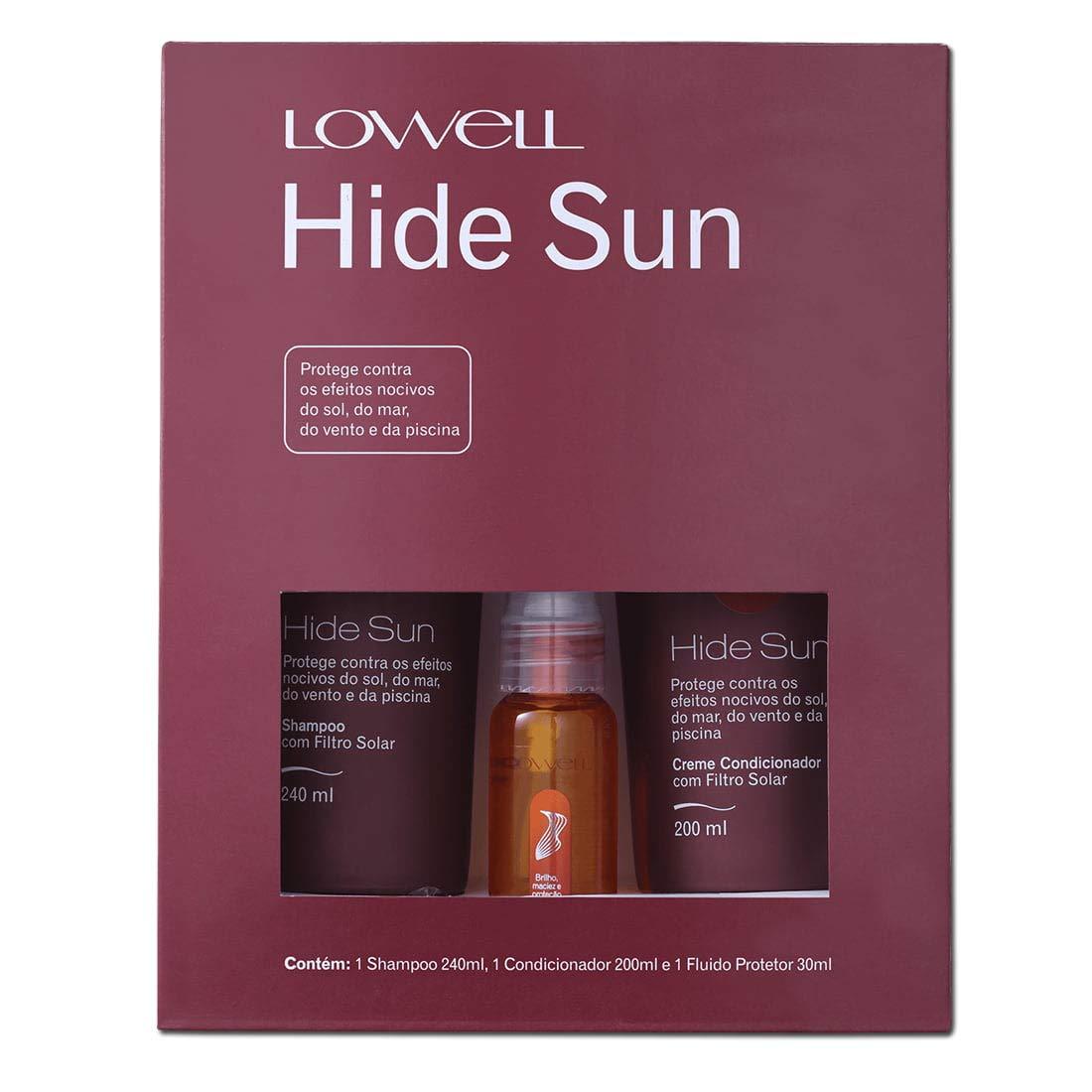 Lowell Kit Hide Sun Shampoo - 240ml + Condicionador - 200ml + Fluido - 30ml