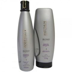 Aneethun Kit Shampoo 300 ml E Mascara Matizante  Blond System 250 gr e Ganhe Finalizador